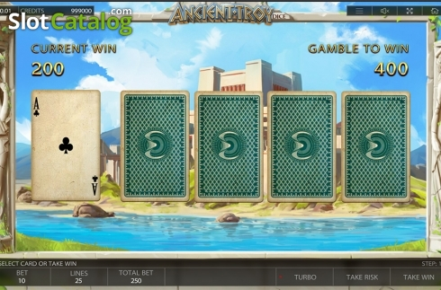 Gamble game screen. Ancient Troy Dice (Video Slot from Endorphina)