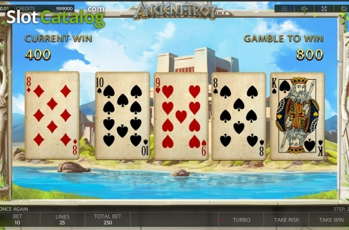 Gamble game workflow screen. Ancient Troy Dice (Video Slot from Endorphina)