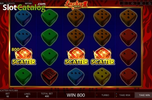 Win screen 2. Lucky Dice 1 (Video Slot from Endorphina)