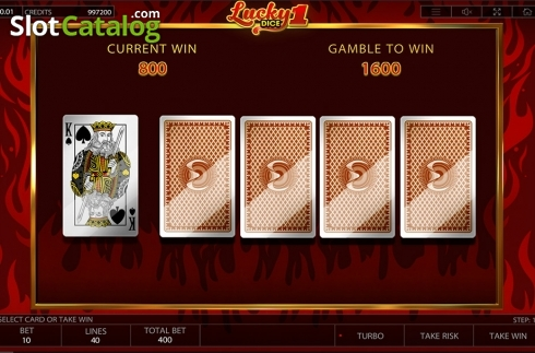 Gamble game screen . Lucky Dice 1 (Video Slot from Endorphina)