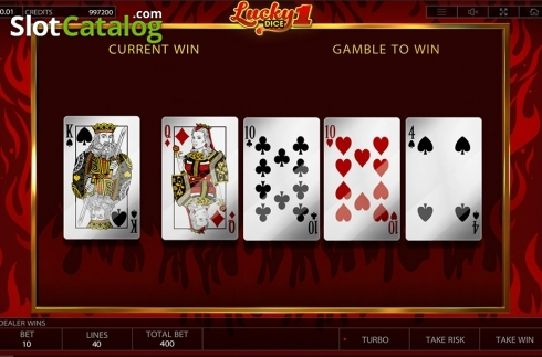 Gamble game workflow screen . Lucky Dice 1 (Video Slot from Endorphina)