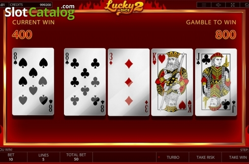 Gamble game workflow screen. Lucky Dice 2 (Video Slot from Endorphina)
