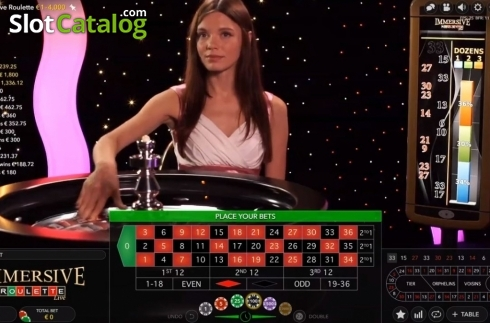 Game Screen. Immersive Roulette (Live Casino from Evolution Gaming)