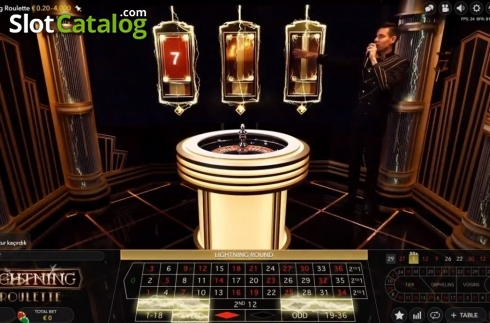 Skjerm2. Lightning Roulette (Live Casino fra Evolution Gaming)