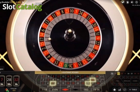 Skjerm3. Lightning Roulette (Live Casino fra Evolution Gaming)