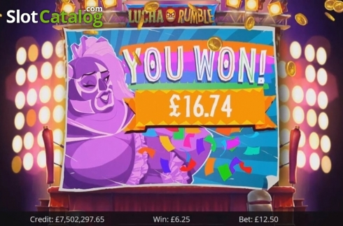 Win Screen 2. Lucha Rumble (Video Slot from Eyecon)
