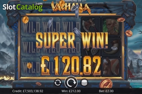Super Win. Champions of Valhalla Jackpot (Video Slot from Eyecon)