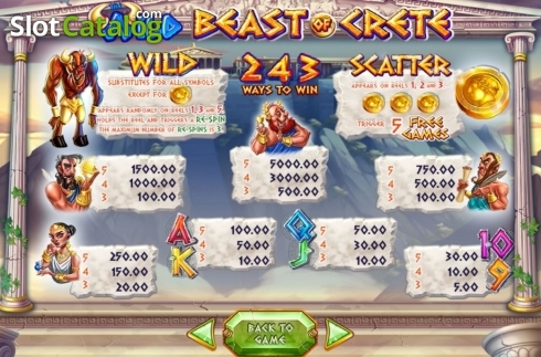Skjerm10. Wild Beast of Crete (Video Slot fra Felix Gaming)