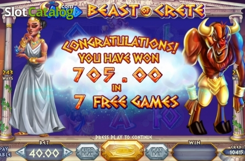 Skjerm7. Wild Beast of Crete (Video Slot fra Felix Gaming)