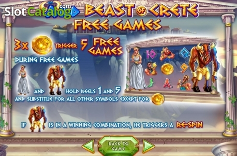 Skjerm9. Wild Beast of Crete (Video Slot fra Felix Gaming)