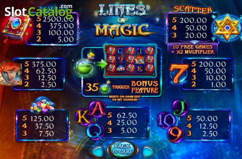 Képernyő5. Lines of Magic (Video Slot tól től Felix Gaming)
