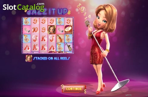 Intro screen. Jazz It Up (Video Slot from GamePlay)