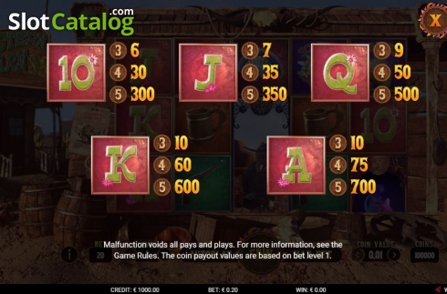 Paytable 1. Western Barn (Video Slot from Gamshy)