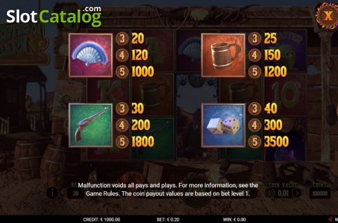 Paytable 2. Western Barn (Video Slot from Gamshy)