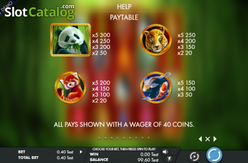 Paytable 1. Rich panda (Video Slot from Genesis)