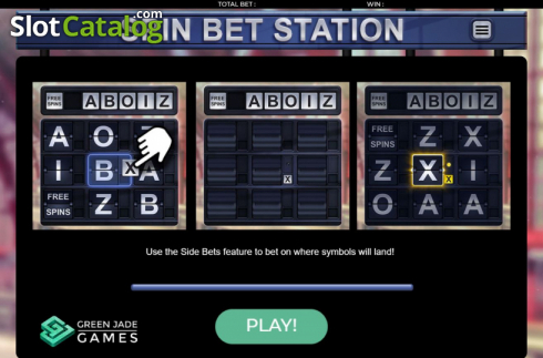 Start Screen. Spin Bet Station (Video Slot from Green Jade Games)