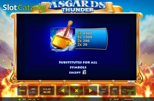 Ecran10. Asgard's Thunder (Slot video din Green Tube)