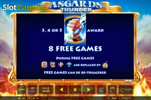 Ecran9. Asgard's Thunder (Slot video din Green Tube)