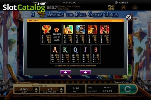 Obrazovka11. Sailing The 7 Skies (Video Slot z High 5 Games)