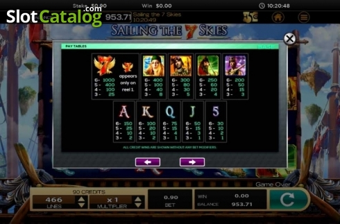 Obrazovka12. Sailing The 7 Skies (Video Slot z High 5 Games)