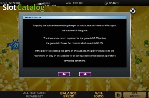Game Rules 6. All That Cash Power Bet (Video Slot from High 5 Games)