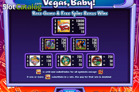 Betaaltafel. Vegas, Baby! (Video Slot van IGT)