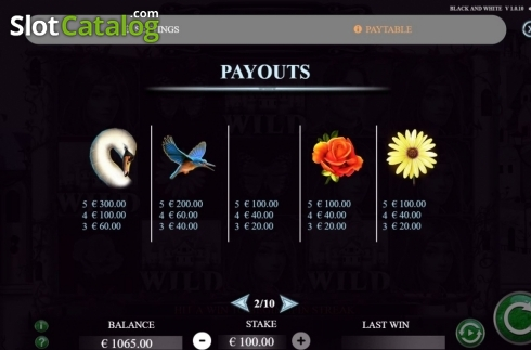 Paytable 2. Black and White (Jade Rabbit Studios) (Video Slot from Jade Rabbit Studios)
