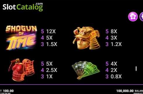 Skjerm30. Shogun of Time (Video Slot fra JustForTheWin)