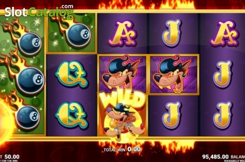 Skärm8. Rockabilly Wolves (Video Slot från JustForTheWin)