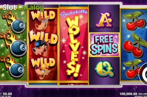 Skärm2. Rockabilly Wolves (Video Slot från JustForTheWin)