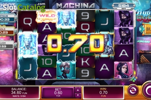 Wild win screen. Machina (Video Slot from Kalamba Games)