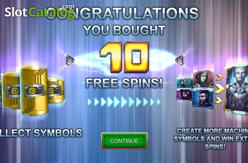 Free spins intro screen. Machina (Video Slot from Kalamba Games)