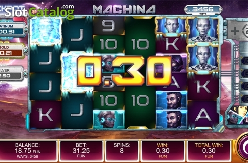 Free spins screen 1. Machina (Video Slot from Kalamba Games)