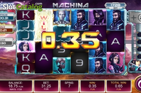 Free spins screen 2. Machina (Video Slot from Kalamba Games)