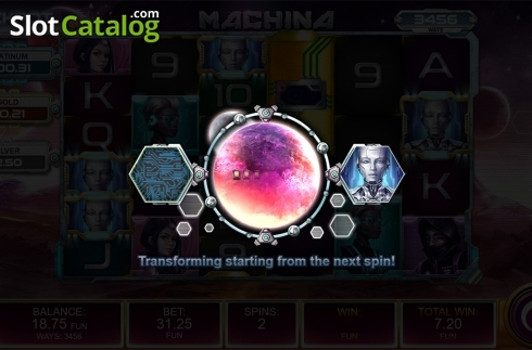 Free spins screen 6. Machina (Video Slot from Kalamba Games)