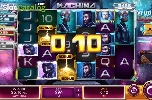 Win screen. Machina (Video Slot from Kalamba Games)
