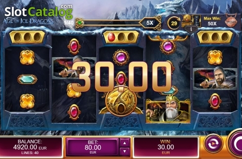 Win Screen. Age of Ice Dragons (Video Slot from Kalamba Games)
