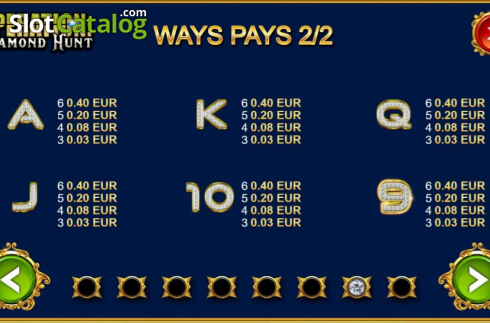 Paytable 2. Operation Diamond Hunt (Video Slot from Kalamba Games)