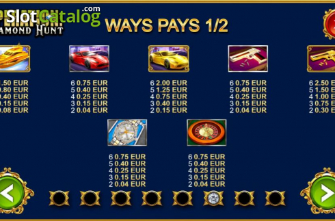 Paytable 1. Operation Diamond Hunt (Video Slot from Kalamba Games)