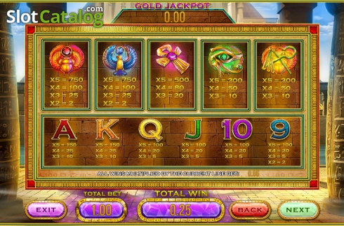Paytable 2. Cleopatra's Gold (Leander Games) (Video Slot from Leander Games)