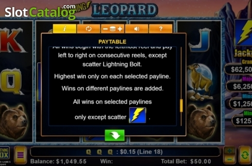 Rules. Lightning Leopard (Video Slot from Lightning Box)