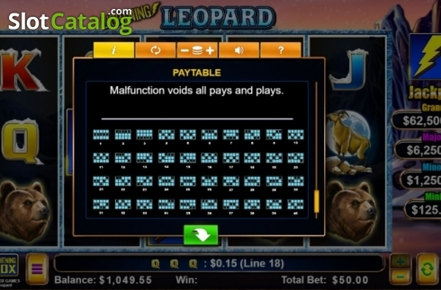 Paylines. Lightning Leopard (Video Slot from Lightning Box)