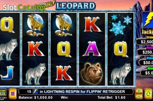 Game Screen. Lightning Leopard (Video Slot from Lightning Box)