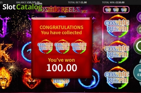 Win Screen. Cosmic Reels Hot (Video Slot from MetaGU)