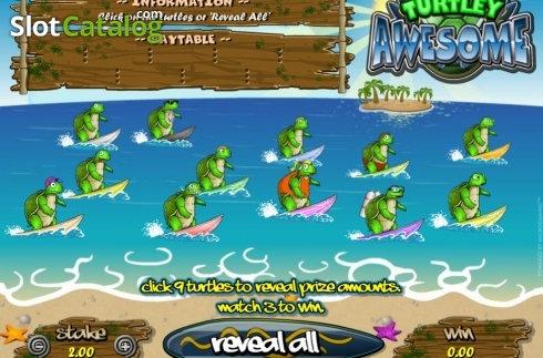 Skjerm2. Turtley Awesome (Scrath Billetter fra Microgaming)