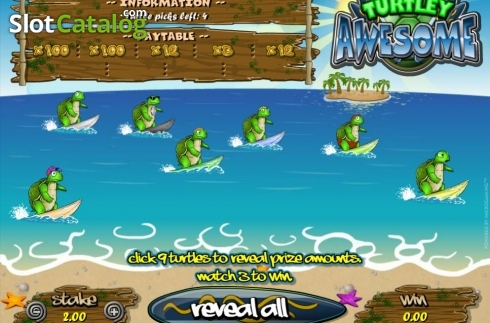 Skjerm3. Turtley Awesome (Scrath Billetter fra Microgaming)