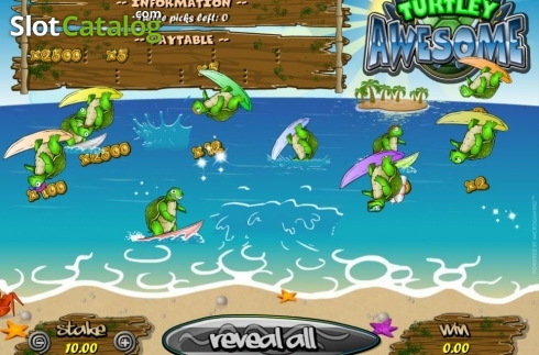Skjerm4. Turtley Awesome (Scrath Billetter fra Microgaming)