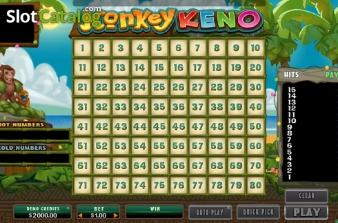 Game Screen. Monkey Keno (Others Types from Microgaming)