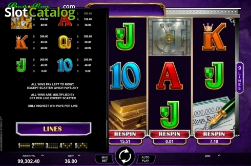 Paytable. Break Da Bank Again Respin (Video Slot from Gameburger Studios)