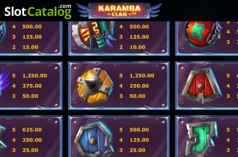 Képernyő8. Karamba Clan (Video Slot tól től Microgaming)